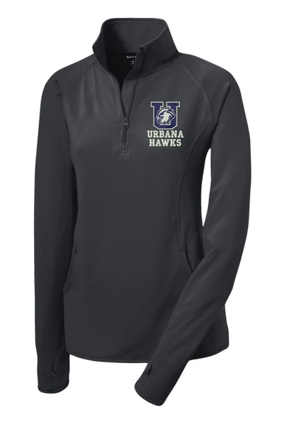 URBANA HAWKS Half Zip Performance Stretch  LADIES Sport Wick Polyester Spandex Pullover Many Colors Available SZ S-4XL CHARCOAL GREY