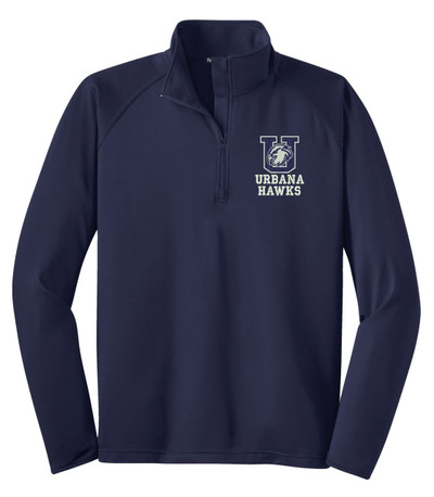 URBANA HAWKS Half Zip Performance  Stretch Sport Wick Polyester Spandex Pullover Many Colors Available SZ S-3XL NAVY