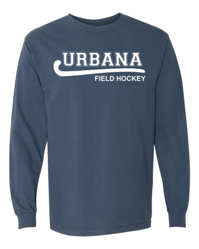 Urbana FIELD HOCKEY T-shirt Cotton COMFORT COLORS Long Sleeve Many Colors Available SZ S-3XL BLUE JEAN
