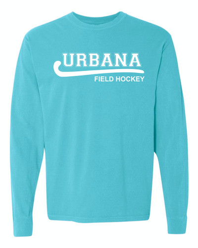 Urbana FIELD HOCKEY T-shirt Cotton COMFORT COLORS Long Sleeve Many Colors Available LAGOON