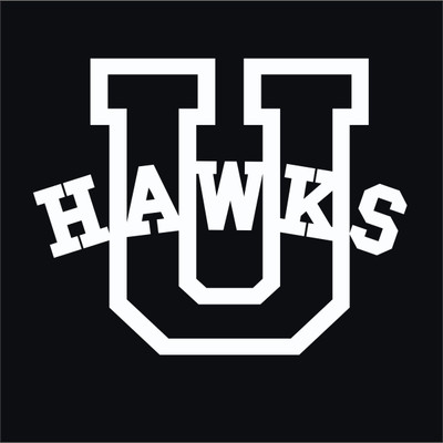 Urbana Hawks Varsity U Vinyl Decal Car Truck Mirror Wall Laptop Tablet Water Bottle WHITE