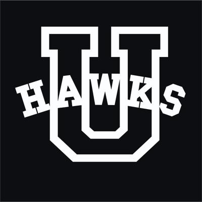 Urbana Hawks Varsity U Vinyl Decal Car Truck Mirror Wall Laptop Tablet Water Bottle WHITE