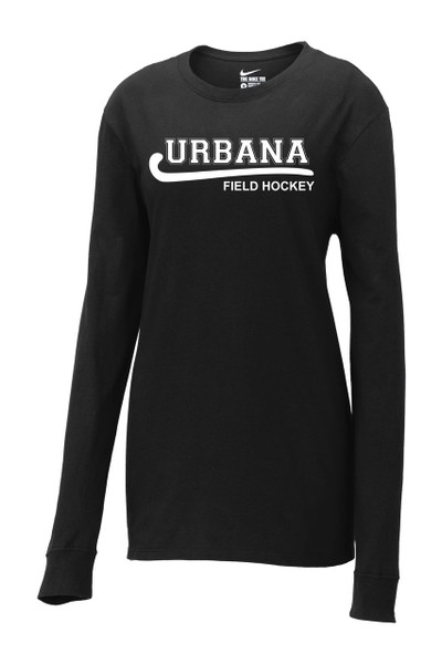 Urbana FIELD HOCKEY T-shirt NIKE LONG SLEEVE LADIES Cotton Many Colors AvailableSZ S-2XL BLACK