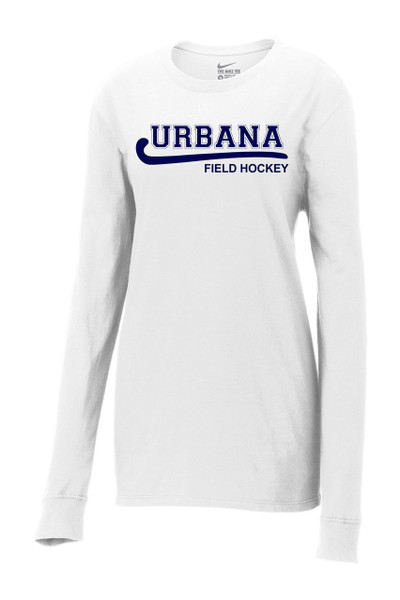 Urbana FIELD HOCKEY T-shirt NIKE LONG SLEEVE LADIES Cotton Many Colors Available WHITE