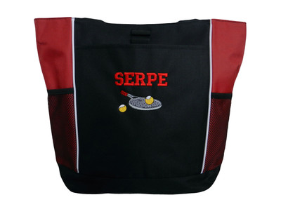 Tennis Racquet Ball Personalized Embroidered Zippered Tote Bag RED Tote Bag FONT style VARSITY
