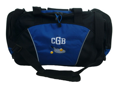 Tennis Racquet Ball Personalized Embroidered Duffel ROYAL BLUE Font Style CHICAGO