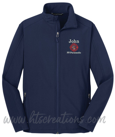 Firefighter Maltese Fire Rescue FF Paramedic Medic Softshell Jacket DRESS BLUE NAVY Font Style Bodini