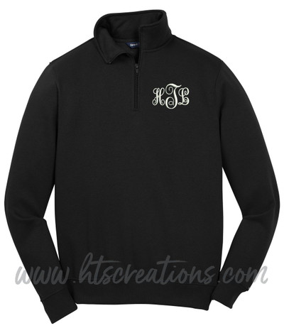 Sweatshirt 1/4 Zip Embroidered Monogram Personalized Unisex Mens Sizing XS S M L 2XL 3XL 4XL BLACK