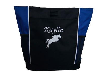 Horse Silhouette Jumping Riding Jockey Equestrian Vet Tech DVM Personalized Embroidered Zippered Tote Bag ROYAL BLUE Font Style MONO CORSIVA