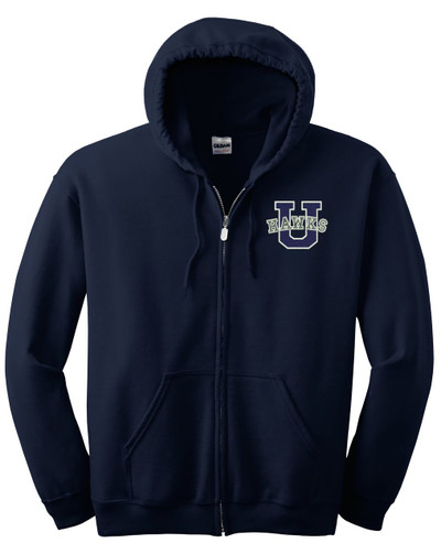 UHS Urbana Hawks Cotton Hoodie Zippered Sweatshirt EMBROIDERED Sz S -3XL NAVY