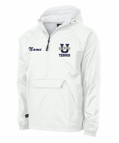 UHS Urbana Hawks Half Zip Pullover TENNIS Nylon Jacket Charles River Personalization Available  WHITE with NAME PERSONALIZATION