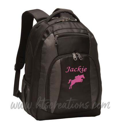 Horse Jumping Jockey Silhouette Equestrian Sports Personalized Embroidered Monogram Backpack Black Charcoal Waterbottle Holder  Font Style MONO CORSIVA
