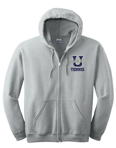UHS Urbana Hawks Cotton Hoodie Zippered Sweatshirt TENNIS EMBROIDERED Sz S -3XL SPORTS GREY