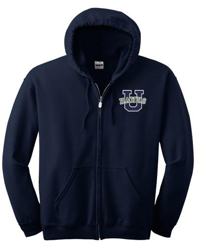 Urbana Hawks Full Zip Cotton Hoodie Sweatshirt EMBROIDERED Sz S -3XL NAVY