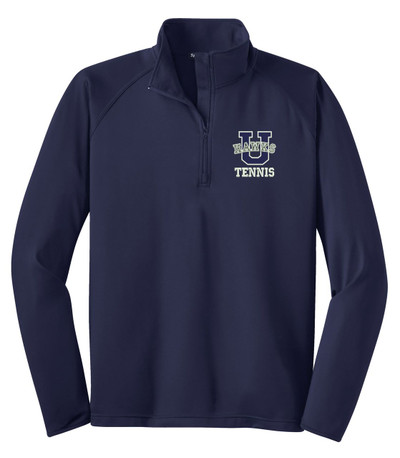 Urbana Hawks Half Zip Performance Stretch UHS TENNIS U VARSITY Sport Wick Polyester Spandex Pullover Many Colors Available NAVY