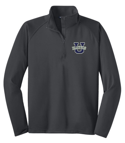 Urbana Hawks Half Zip Performance Stretch UHS U VARSITY Sport Wick Polyester Spandex Pullover Many Colors Available SZ S-3XL CHARCOAL GREY
