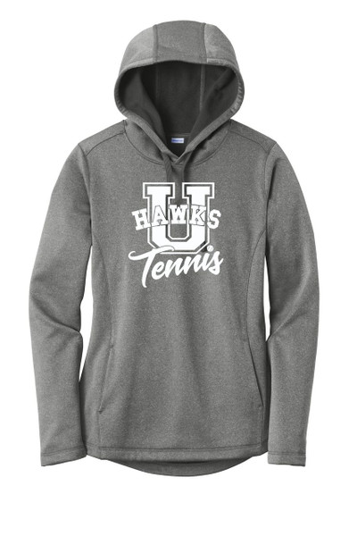 UHS Urbana Hawks TENNIS Hooded Performance PosiCharge Heather Fleece Pullover U Sweatshirt LADIES Sizes XS-4XL Many Colors Available BLACK HEATHER