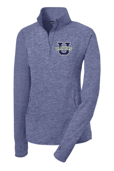 Urbana Hawks Half Zip Performance Stretch LADIES U Varsity Sport Wick Polyester Spandex Pullover HEATHER Many Colors Available Sz S-4XL TRUE NAVY HEATHER
