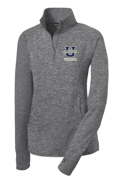 Urbana Hawks Half Zip Performance Stretch LADIES UHS TENNIS U Varsity Sport Wick Polyester Spandex Pullover HEATHER Many Colors Available Sz S-4XL CHARCOAL GREY HEATHER