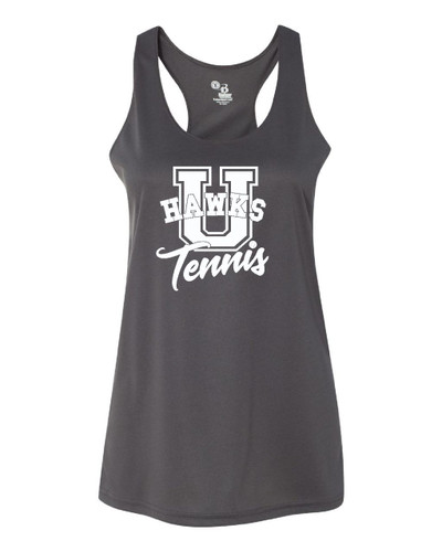 Urbana Hawks TENNIS U Tank Top Performance LADIES Racer Back Badger Polyester Many Colors Available Sz S-2XL GRAPHITE