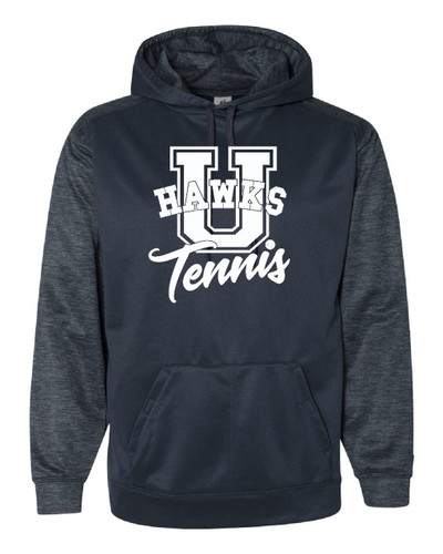 UHS Urbana Hawks TENNIS Hoodie Performance Tonal Blend Fleece Pullover  U Sweatshirt GRAPHITE or NAVY ADULT Sizes S-3XL  NAVY