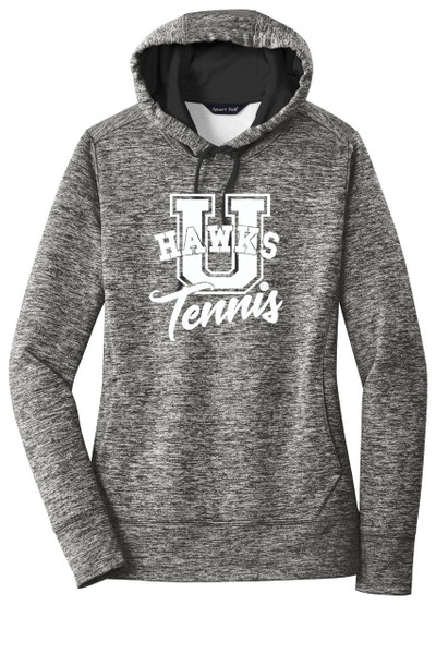 UHS Urbana Hawks TENNIS Hoodie Performance PosiCharge Electric Heather Fleece Pullover U Sweatshirt Many Colors Available LADIES Sizes XS-4XL BLACK ELECTRIC