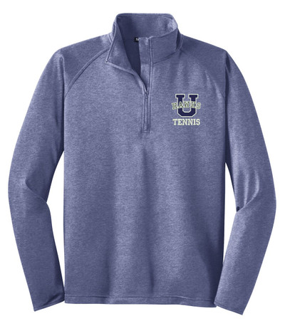 Urbana Hawks Half Zip Performance Stretch UHS TENNIS U Varsity Sport Wick Polyester Spandex Pullover HEATHER Many Colors Available Sz XS-4XL TRUE NAVY HEATHER