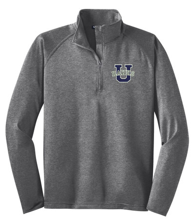 Urbana Hawks Half Zip Performance Stretch UHS U Varsity Sport Wick Polyester Spandex Pullover HEATHER Many Colors Available Sz XS-4XL CHARCOAL GREY HEATHER