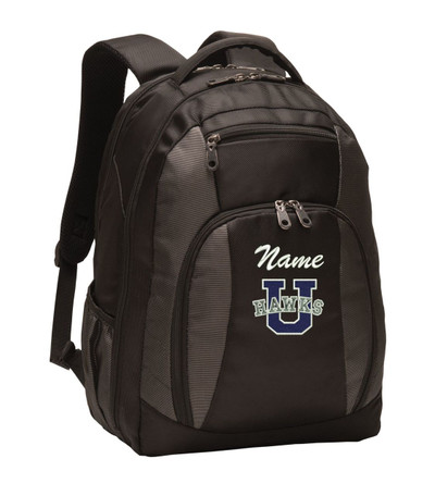 Urbana Hawks Personalized Embroidered Backpack Charcoal Black Free NAME Monogrammed (Font style shown for name is Athletic Script)