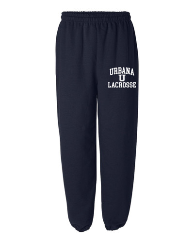 Urbana Hawks LACROSSE Sweatpants Cotton ELASTIC CUFF Colors Navy or Sports Grey Available YOUTH SZ S-XL NAVY