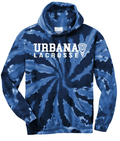 Urbana Hawks LACROSSE Cotton Hoodie Sweatshirt Tie Dyed Navy Spiral SZ S-3XL