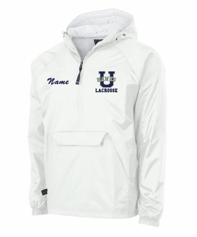 Urbana Hawks Half Zip LACROSSE Pullover Nylon Jacket Charles River Personalization Available SZ S-3XL WHITE with NAME PERSONALIZATION