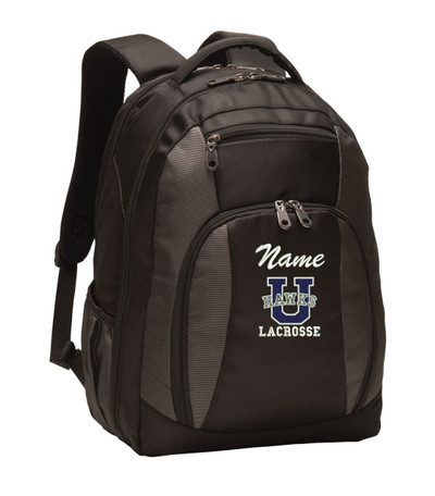 Urbana Hawks LACROSSE Personalized Embroidered Backpack Charcoal Black Free NAME Monogrammed (Font style shown for name is Athletic Script)