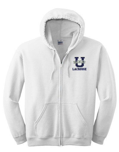 Urbana Hawks Hoodie Cotton LACROSSE Zippered Sweatshirt EMBROIDERED Many Colors Available Sz S -3XL WHITE