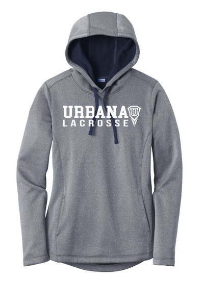 Urbana Hawks LACROSSE Hooded Performance PosiCharge Heather Fleece Pullover U Sweatshirt LADIES Sizes XS-4XL Many Colors Available TRUE NAVY HEATHER