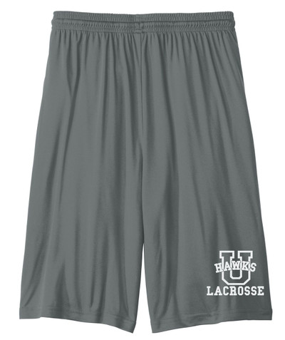 Urbana Hawks Shorts LACROSSE Performance with Pockets Colors Navy or Grey Available YOUTH SZ S-L IRON GREY