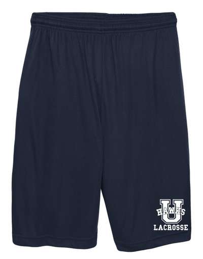 Urbana Hawks Shorts LACROSSE Performance with Pockets Colors Navy or Grey Available YOUTH SIZE S-L TRUE NAVY