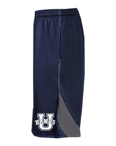 Urbana Hawks Shorts Performance with Pockets BADGER Colors Navy or Grey Available SZ S-2XL NAVY/GRAPHITE