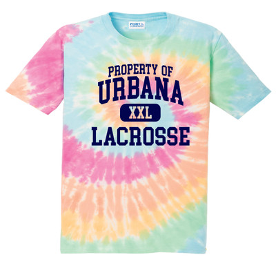 Urbana Hawks LACROSSE T-shirt Cotton TIE DYE PASTEL RAINBOW Property Of YOUTH SZ S-L