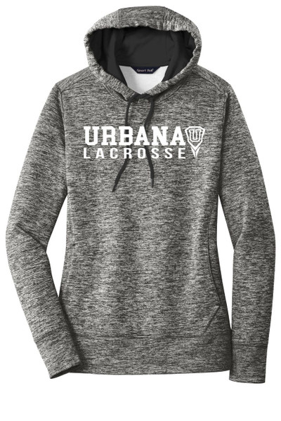 Urbana Hawks LACROSSE Hoodie Performance PosiCharge Electric Heather Fleece Pullover Sweatshirt Many Colors Available LADIES Sizes XS-4XL BLACK ELECTRIC