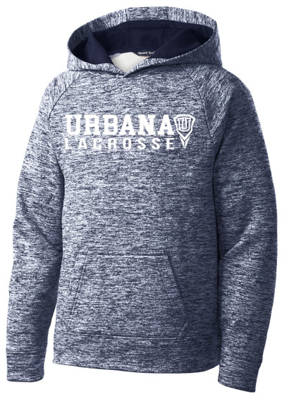 Urbana Hawks LACROSSE Hoodie Performance PosiCharge Electric Heather Fleece Pullover Sweatshirt Many Colors Available YOUTH Sizes S-XL  TRUE NAVY ELECTRIC
