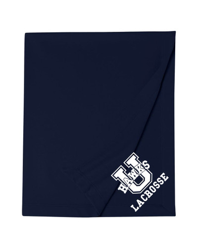 Urbana Hawks Cotton Sweatshirt Stadium Blanket U LACROSSE  50x60 Navy or Sports Grey Available NAVY
