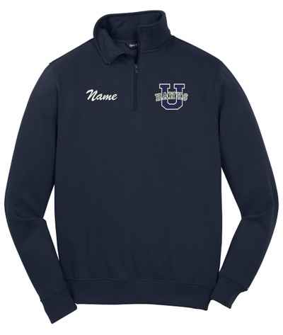 Urbana Hawks Qtr Zip Cotton Pullover Personalization Available Many Colors Available SZ S-4XL NAVY NAME PERSONALIZED