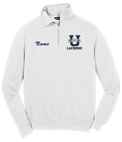 Urbana Hawks Qtr Zip Cotton Pullover LACROSSE Personalization Available Many Colors Available SZ S-4XL WHTIE NAME PERSONALIZED