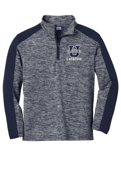 Urbana Hawks Qtr Zip Performance PosiCharge Electric Heather Pullover LACROSSE Many Colors Available YOUTH SZ S-XL TRUE NAVY