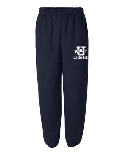 Urbana Hawks Sweatpants LACROSSE Cotton ELASTIC CUFF Colors Navy or Sports Grey Available SZ S-2XL  NAVY
