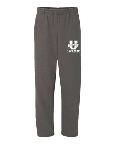 Urbana Hawks Sweatpants LACROSSE Cotton OPEN BOTTOM With Pockets Many Colors Available SZ S-2XL CHARCOAL