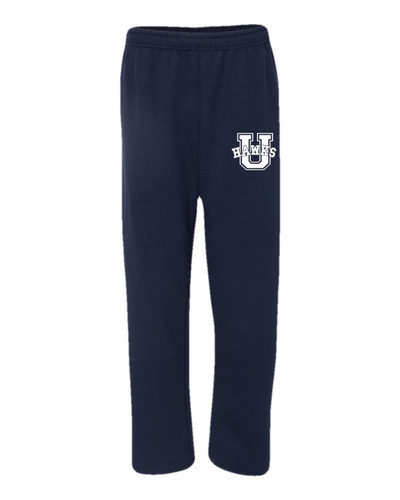 Urbana Hawks Sweatpants  Cotton OPEN BOTTOM With Pockets Colors Navy or Grey Available SZ S-3XL NAVY
