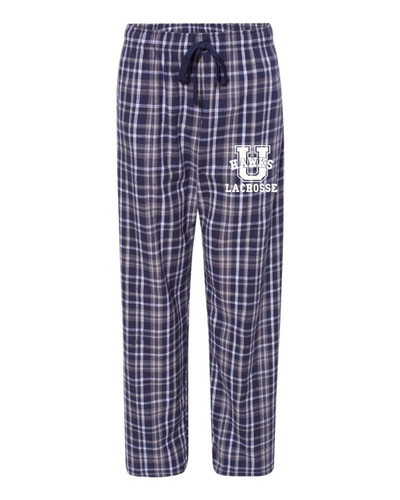 Urbana Hawks Flannel Lounge Pants LACROSSE with Pockets Boxercraft Unisex NAVY/WHITE YOUTH SZ S-L