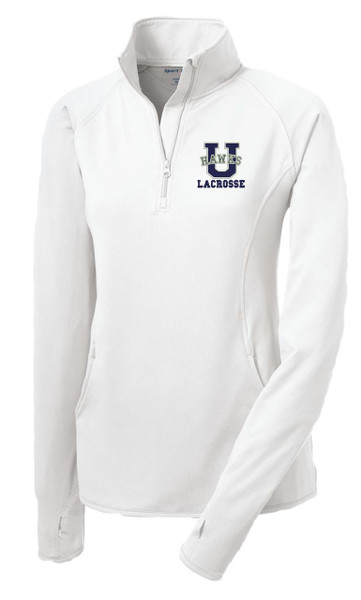 Urbana Hawks Half Zip LACROSSE Performance Stretch LADIES Sport Wick Polyester Spandex Pullover Many Colors Available Sz S-3XL WHITE